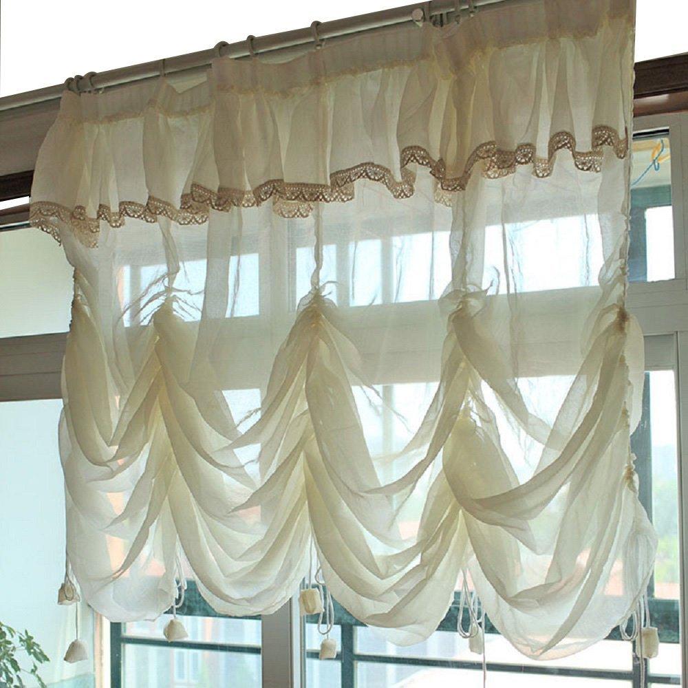 WINLIFE rideaux ballon blanc crème rideau transparent dentelle à volants cravate rideau romain cantonnière