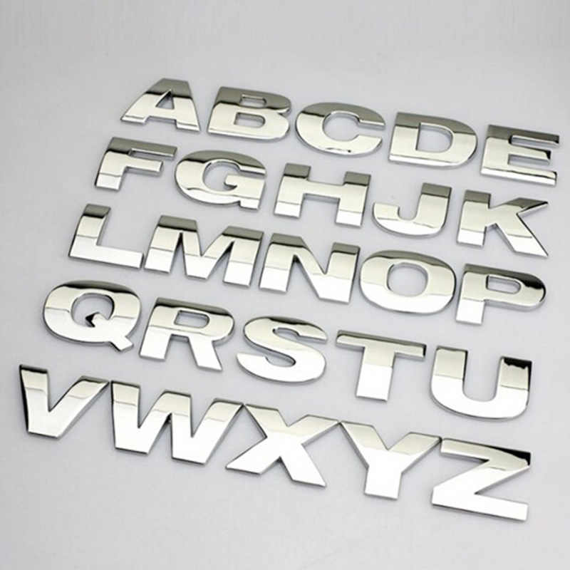 3D Metal Alphabet Silver Badge Chrome Silver Letters Numbers Logo Car Stickers Automobiles Car Accessories Stickers Decoration