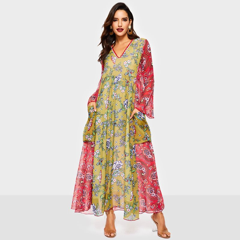Femmes robe maxi imprimé floral boho Sexy Mode Vacances Printemps 2019 robe décontractée Doux Fille Voyage Solaire Plage Robes Longues