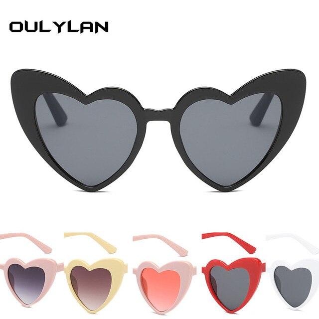 Oulylan Cat Eye Óculos de Sol Em Forma de Coração Óculos De Sol Das Mulheres de Luxo Senhoras Do Vintage Preto Rosa Eyewear UV400
