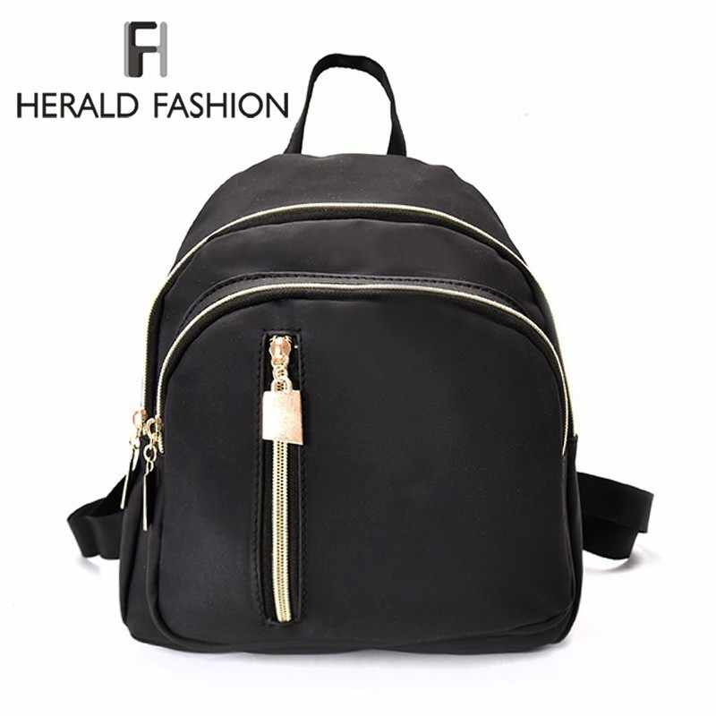 Herald Fashion Oxford Ransel untuk Wanita Tas Ransel Sekolah Padat Mini Kasual Daypack Feminin untuk Wanita Kamuflase Tas Travel