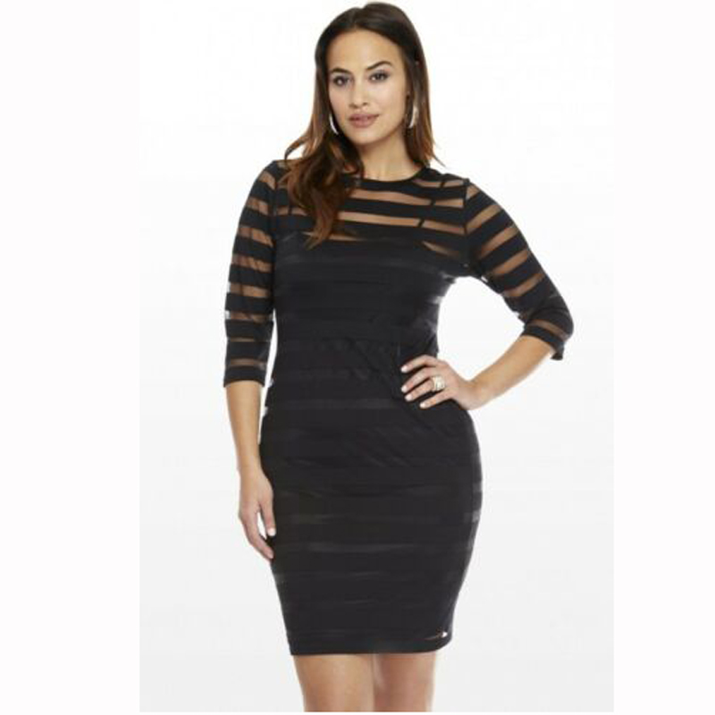 Women   Dresses   Plus Size Bodycon Ladies Three Quarter Sleeves Lace Party   Cocktail   Short   Dress   Black White