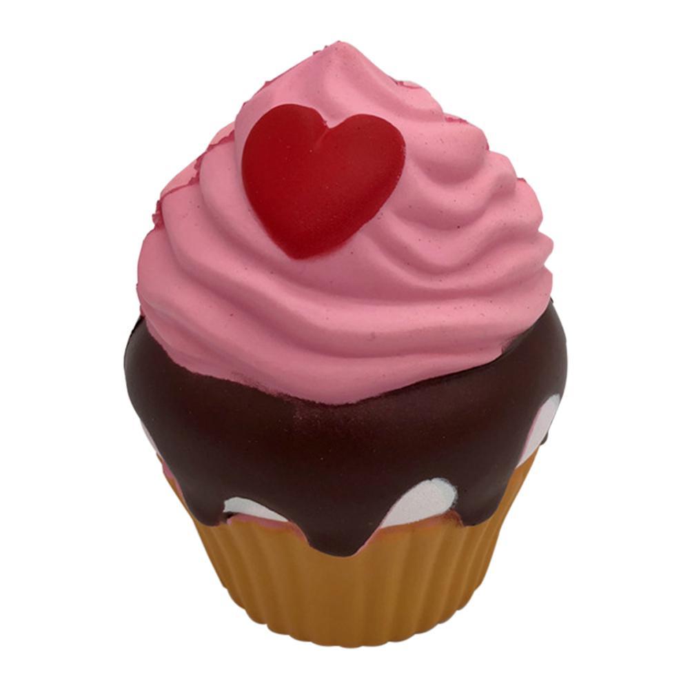 Cute Simulate Loving Heart Cupcake Squishy Toy Home Decor Children Decompression Vent Toys