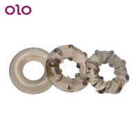 OLO 3 Pieces/set Penis Ring Cock Ring Delay Ejaculation Sex Toys for Men Elastic Penis Enalrgement Extender
