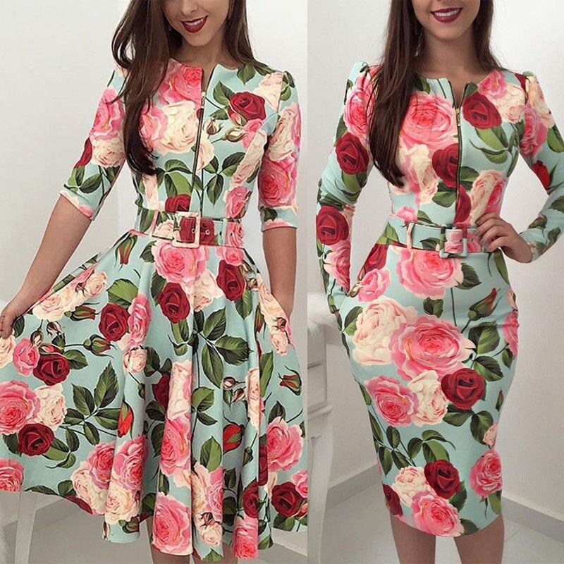 Summer Boho Bodycon/A Line Floral Print Dress With Belt Casual Long Sleeve Evening Party Midi Dress Elegant Zipper Pencil Dress a-line