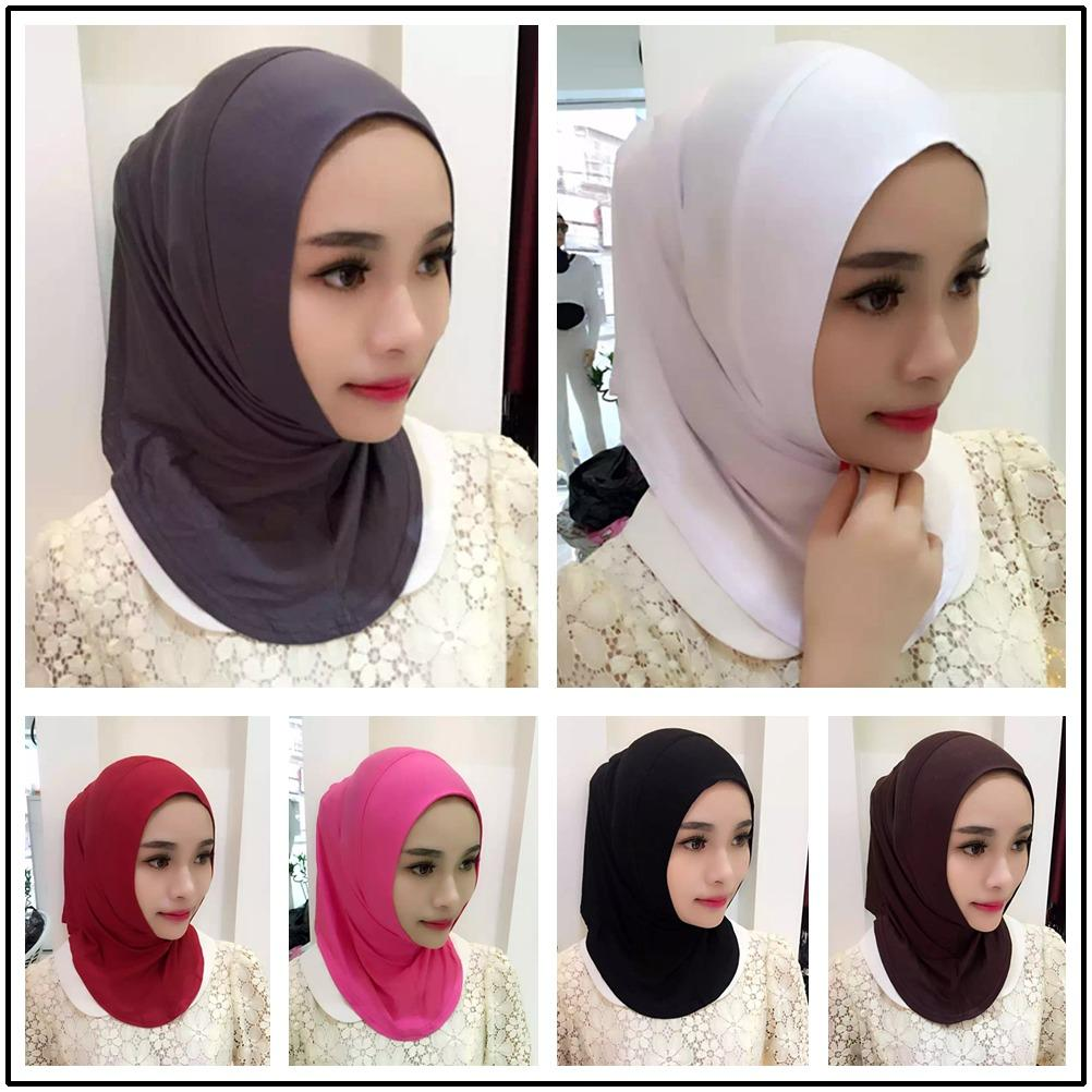 Women Muslim Inner Hijab Headwear Turban Caps Underscarf Arab Ninja Hats Cotton Full Over Islamic Elastic Underscarf Comfortable