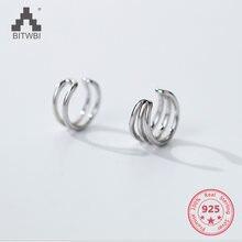 Модные Простые геометрические круглые Клипсы из стерлингового