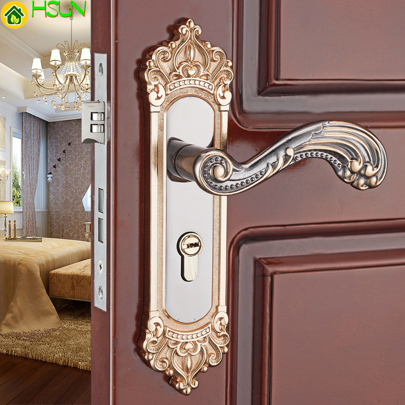 Aluminum alloy mechanical solid wood door lock indoor bedroom door lock handle lock bathroom door handle