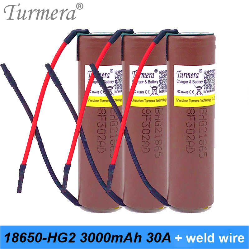 18650 battery hg2 original 18650 3000mah 18650 for shura screwdriver for battery slodering welding battery+DIY Silica gel cable