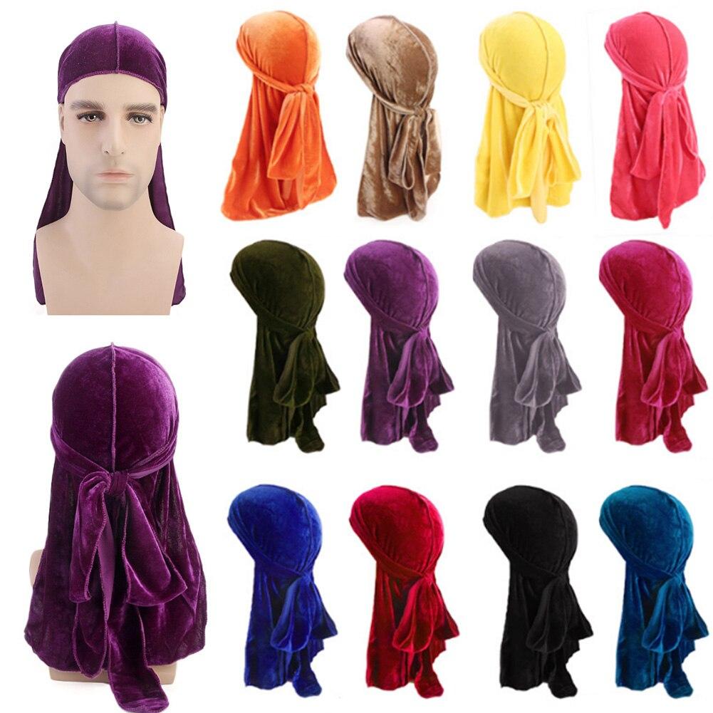 Unisex Men Women Breathable Bandana Hat Velvet Durag Do Doo Du Rag Long Tail Headwrap Chemo Cap