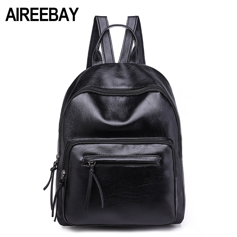 Aireebay Brand Women Leather Backpacks Female School Bags For Girls Rucksack New Preppy Style Black Travel Bagpack