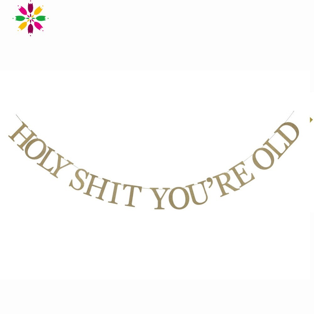Funny Gold Glitter Holy Shit Youre Old Happy Birthday Banner Adult Decorations For Party In Banners