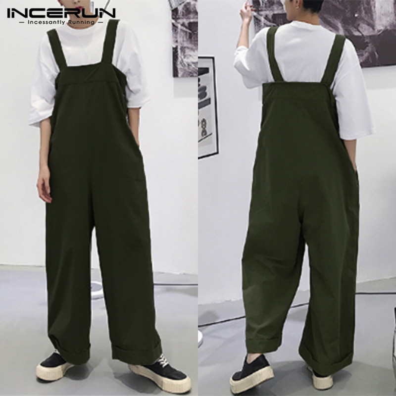 INCERUN 2020 Men Romper Straps Solid Color Korean Style Suspenders Streetwear Casual Pants Loose Men Overalls Wide Leg Jumpsuits