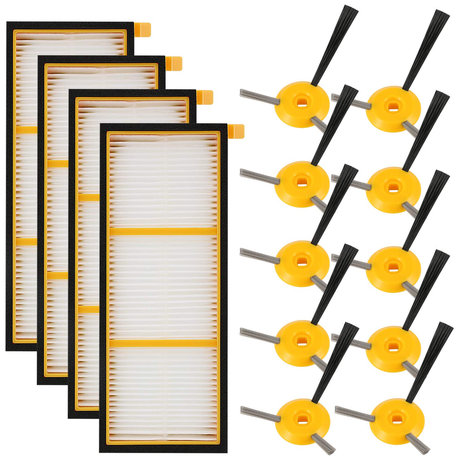 4 Filter + 10 Side Brush 14 Pack Rv720 Rv755 Rv700 Qualified Replenishment Kit Compatible Shark Ion Robot Rv750 Rv750c