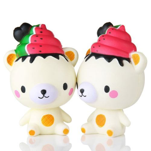 Home Decor Kawaii Watermelon Bear Squishy Squeeze Stress Reliever Anti-anxiety Decor Soft Slow Rising Toy High Safety Figurines & Miniatures