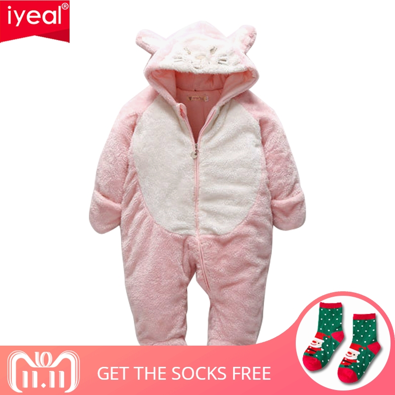 IYEAL Winter Newborn Children Baby Romper Cartoon Hooded Baby Clothes Cotton Warm Infant Girl Jumpsuit Toddler Baby Boy Clothing new 2018 baby winter clothes cotton thick warm hooded baby jumpsuit newborn baby boy girl romper children snowsuit down clothing