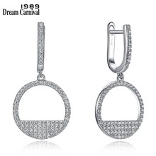 DreamCarnival 1989 Elegant Sterling Silver Drop Earrings for Women Micro Zirconia Paved Cute Push Lock Daily Jewel SE22275-1Y-1S(China)