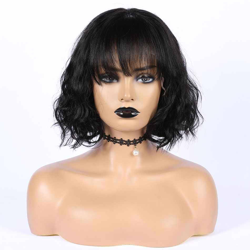 Hesperis Short Lace Front Wigs Wave Brazilian Remy Lace Front Human Hair Wigs With Bang Bob Cut Lace Wig With Bang For Women