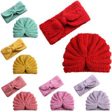 Cute Baby Girls Boys Princess Bow Turban Hat 2Pcs Set Kids Toddler Stretch Soft Head Wrap Hijab Headband Cap Beanies Hat Clothes(China)