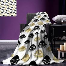 Trippy Throw Blanket Sexy Woman Eyes with Eyelash Unusual Style Fashion Icon Modern Design Print Warm Microfiber Blanket