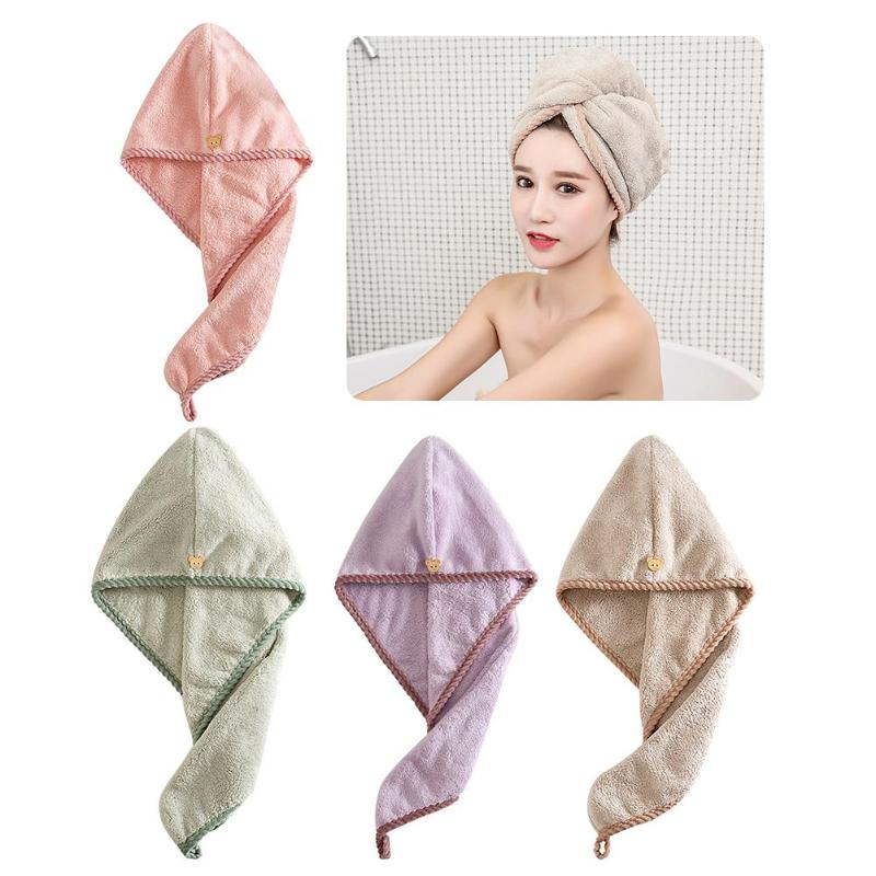 Dry Hair Bath Towel Women Bathroom Super Absorbent Quick-drying Microfiber Coral Velvet Bath Towel Hair Dry Cap