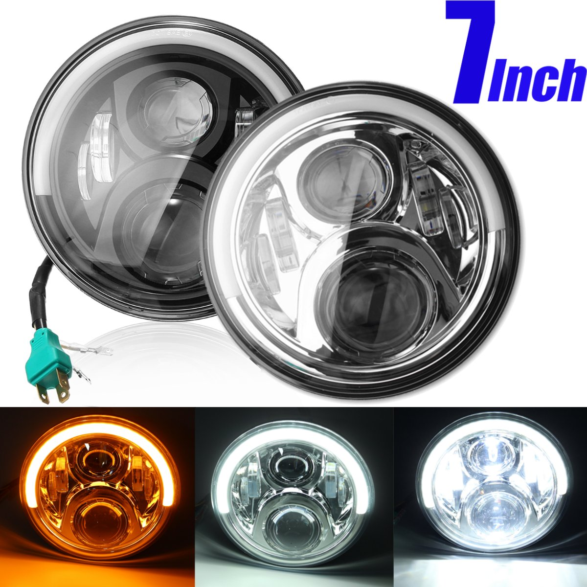 7inch Led Motorcycle Headlight for Harley with Halo Angel Eye DRL Lights For Harely for JEEP for BENZ G for LAND ROVER defender