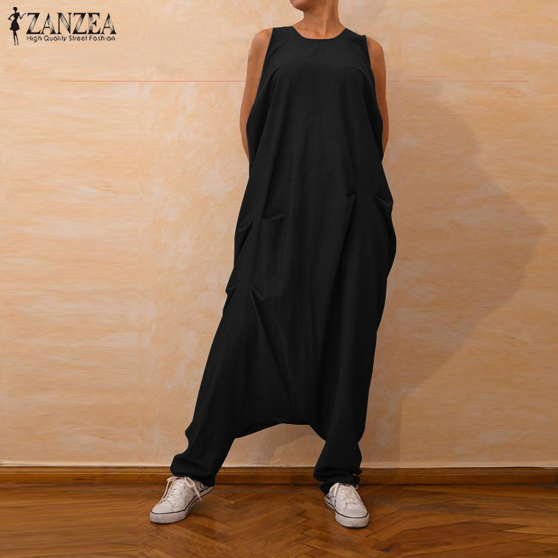 2019 Plus Size ZANZEA Summer Women Casual Solid Sleeveless Vintage Loose Long Harem Overalls Romper Drop-Crotch Pants   Jumpsuits