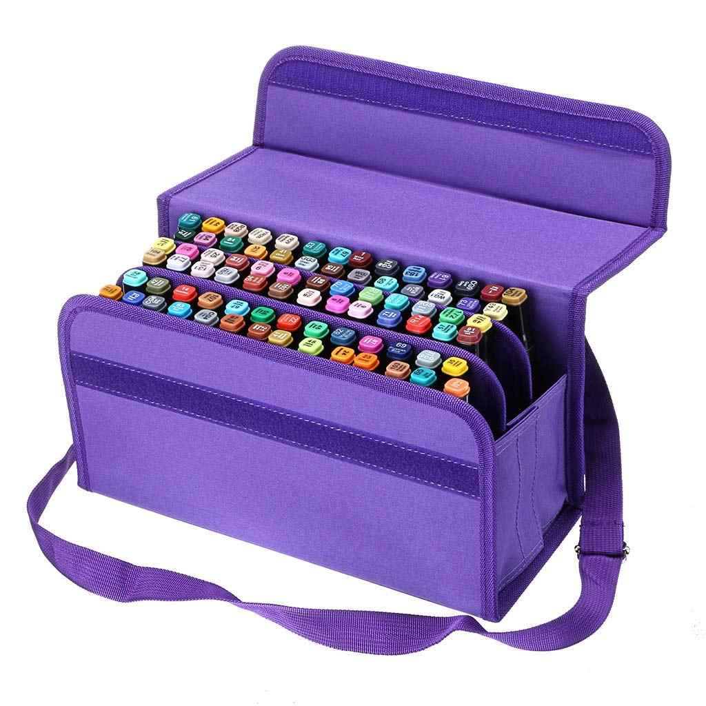 80 Slots Large Capacity Folding Marker Pen Case Art Markers Pen Storage Carrying Bag Durable Sketch Tools Organizer
