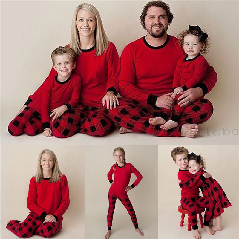 Family Matching Kids Mom Dad Christmas Pajamas PJs Sets Xmas Sleepwear Nightwear цена