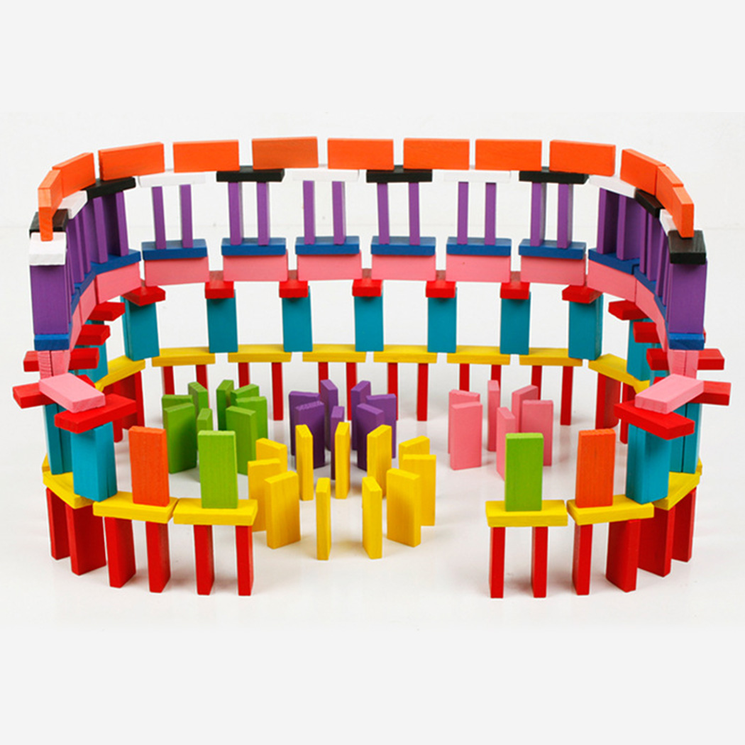 Gehoorzaam 120 Pcs Rainbow Houten Domino Blokken Kinderen Houten Speelgoed Gekleurde Domino Blokken Kits Early Learning Domino Games Educatief Speelgoed