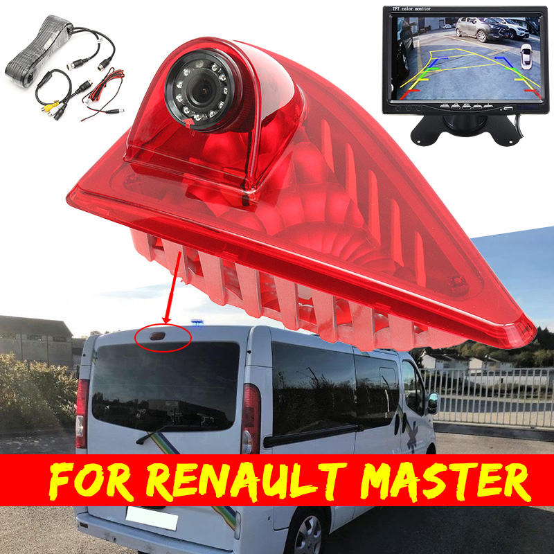 Car Reverse Backup Rear View Camera Brake Light 3RD Night Vision Built-in 10 IR Led For Renault Master Nissan NV400 Opel Movano