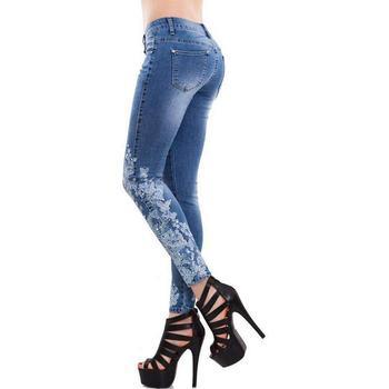 Pantalones vaqueros de talla grande 5XL elásticos de cintura alta ajustados bordados para mujer rasgados pantalones vaqueros florales para mujer pantalones vaqueros lápiz para mujer