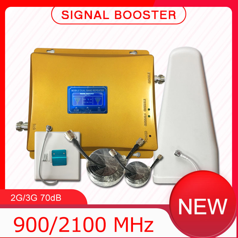 3G 2G 900 2100 Dual Band GSM Wcdma LTE Mobile Phone Signal Booster Cell Phone Cellular Signal Repeater Amplifier For Home  Gold