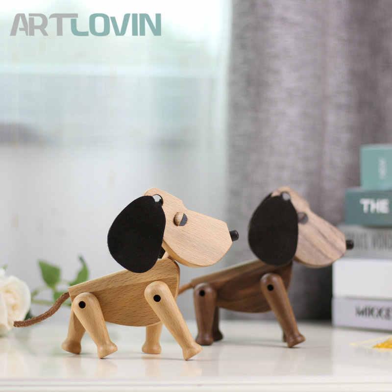 Estilo nórdico Danmark Figuras De Animais em Madeira Madeira Bear/Cão/Ave/Macaco Figuras Enfeites de Decoração Para Casa Artesanato Menino brinquedos Hobbies &