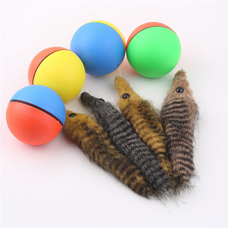 Dog Cat Moving Alive Toy Weasel Motorized Funny Rolling Ball Pet Appears Jump Toy