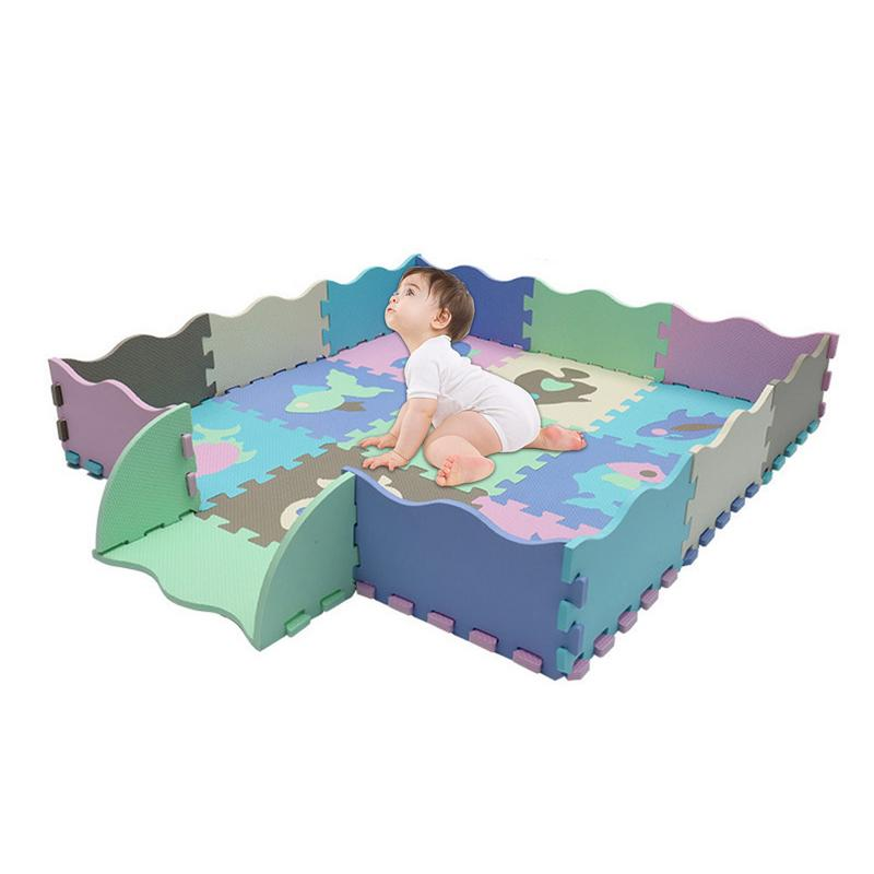 Baby Soft EVA Foam Puzzle Play Floor Mat Carpets Infant Animal Crawling Pad Soft Foam Floor Mat With Fence Toys For Children