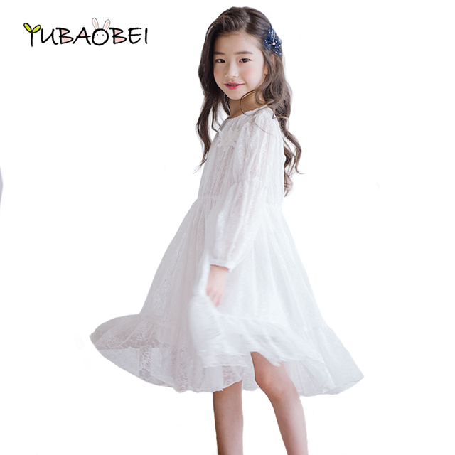 d23dce4202bc 2019 New Fashion Big Girl White Lace Dress Children Clothing Dance Party  Kids Dress Cute Long Over Knee Teenager Dress