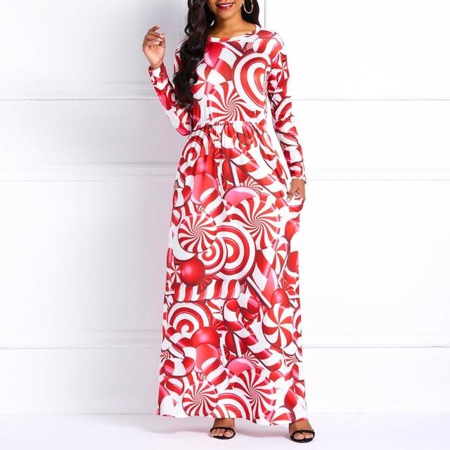 Women Long Dresses Sweet Elegant Red Casual Plus Size Milk Fiber Aline Cartoon Print Female Fashion