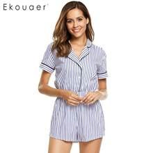 563cff61b Ekouaer Mulheres Algodão Sleepwear Uma Peça Pijama Listrado Túnica de Manga  Curta Sleepwear Pijama Onesie Pijamas