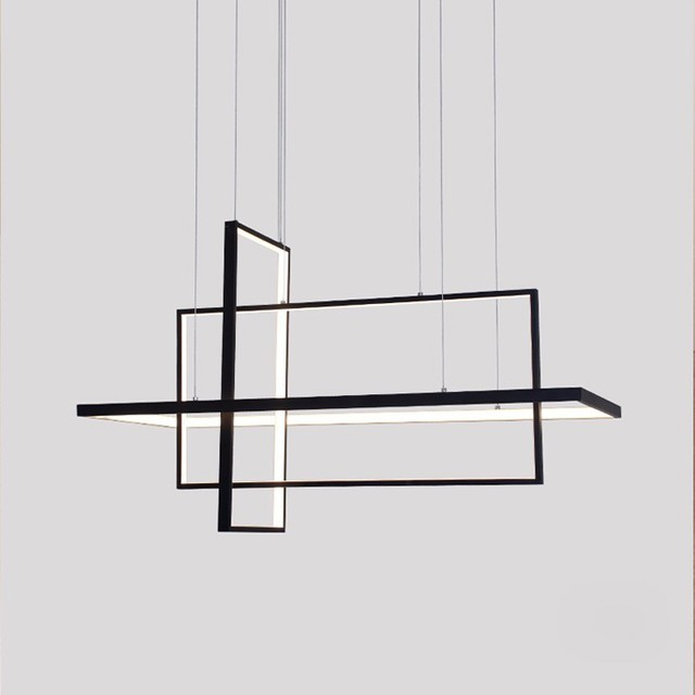 Luces colgantes LED modernas cuadradas para sala de estar dormitorio negro comedor cuadrado lámpara colgante accesorios de restaurante lustre con control remoto