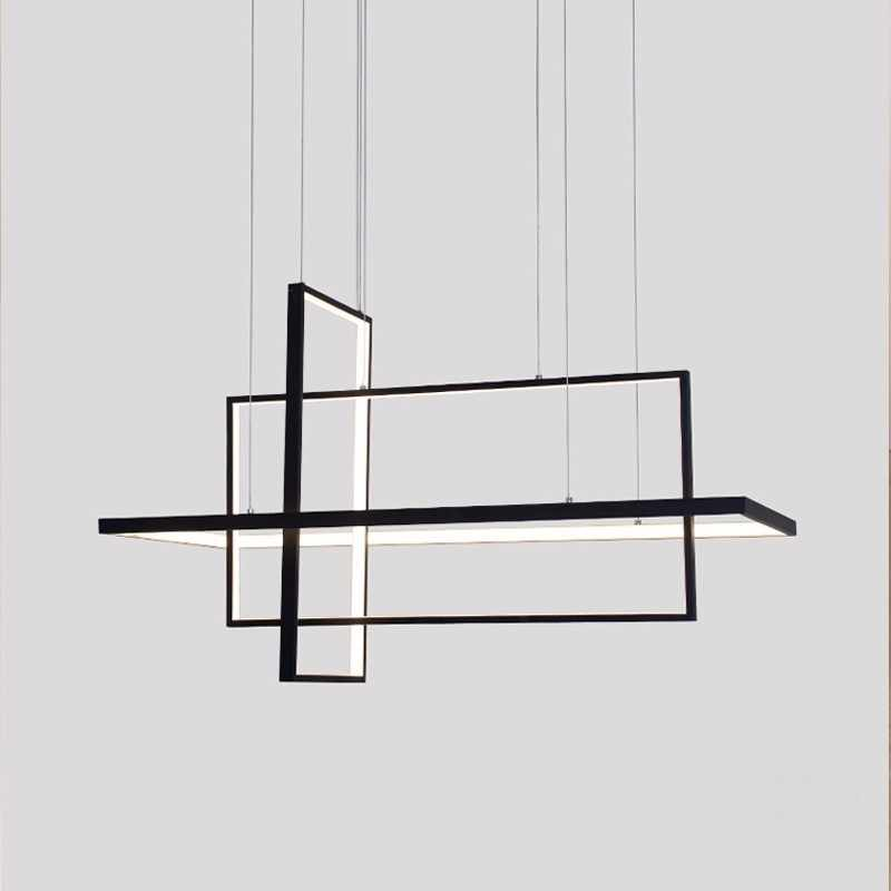 Square Modern LED Pendant Lights For Living Room Black Bedroom Dining Square Hanging Lamp Restaurant Fixtures Luster With Remote