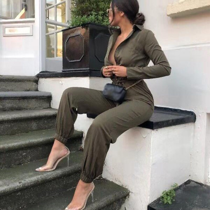 Button Turn-Down Collar Rompers Womens Army Green Loose Casual   Jumpsuit   Solid Long Sleeve Work Wear   Jumpsuit   Overalls
