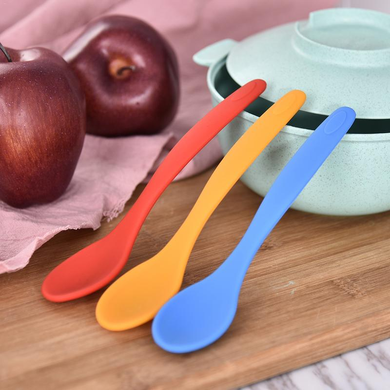 Feeding Spoon Healthy Silicone Baby Feeding Spoon Multicolor Boy Girl Toddler Feeding Tableware Home Flatware Kitchen Gadgets
