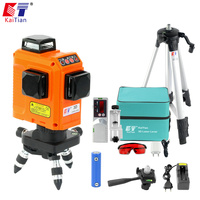 KaiTian 12 Lines Laser Level Tripod with Battery & Horizontal And Vertical Lines Work Separately Red Lasers Beam Lines 3D Levels