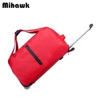 Mihawk Waterproof Luggage Cart Bag Travel Handbag Suitcases On Wheels Trolley Duffel Tote Women Thick Style Rolling Accessories