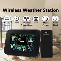 Digital Wireless Weather Station Thermometer Hygrometer Humidity Temperature Instruments Alarm Clock Monitor Forecast Barometer
