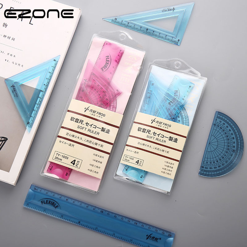 EZONE 4PCS/Set Soft Ruler Set Creative Flexible Ruler 15/20cm Student Measurement Rulers Protractor Triangle Ruler Straightedge