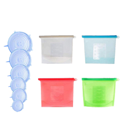 Reusable Silicone Food Storage Kit, 4 BPA Free Food Storage Bags with 6 Silicone Stretch Lids, Eco-Friendly Convenience for Pr