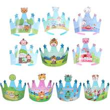 10 pcs Kids Birthday Caps Cute Crown Animals Cartoon Baby Shower Hat Celebration Cap Party Supplies Photo Props(China)