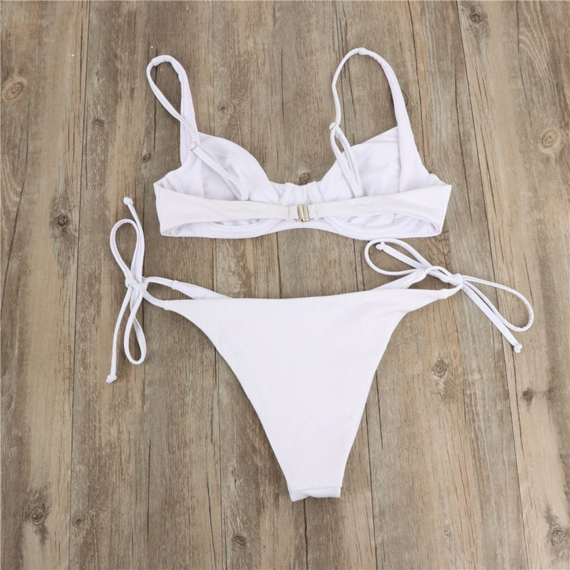 Sexy Women String High Cut Bikini Set With Pad Underwire Swimsuit Female Two Piece Push Up Swimwear Low Waist Swim Suits Biquini in Bikinis Set from Sports Entertainment